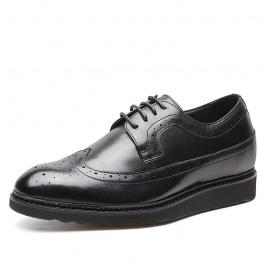 【何金昌】新款布洛克雕花男士日常休闲皮鞋 商务休闲增高皮鞋