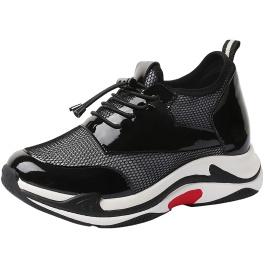 【赫升】时尚内增高鞋女鞋运动鞋老爹鞋黑白隐形增高8CM【偏小一码】