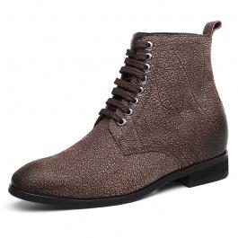 【何金昌】粗犷水牛皮表面光滑细腻粗中有细 潮人一族必备男增高靴 7CM