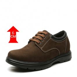 【何金昌】男士商务休闲皮鞋咖啡色 舒适反绒皮男士咖啡色增高鞋 6CM