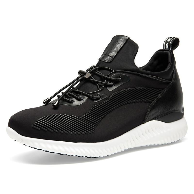 【何金昌】新款内增高运动鞋7厘米潮流时尚运动增高男鞋黑色