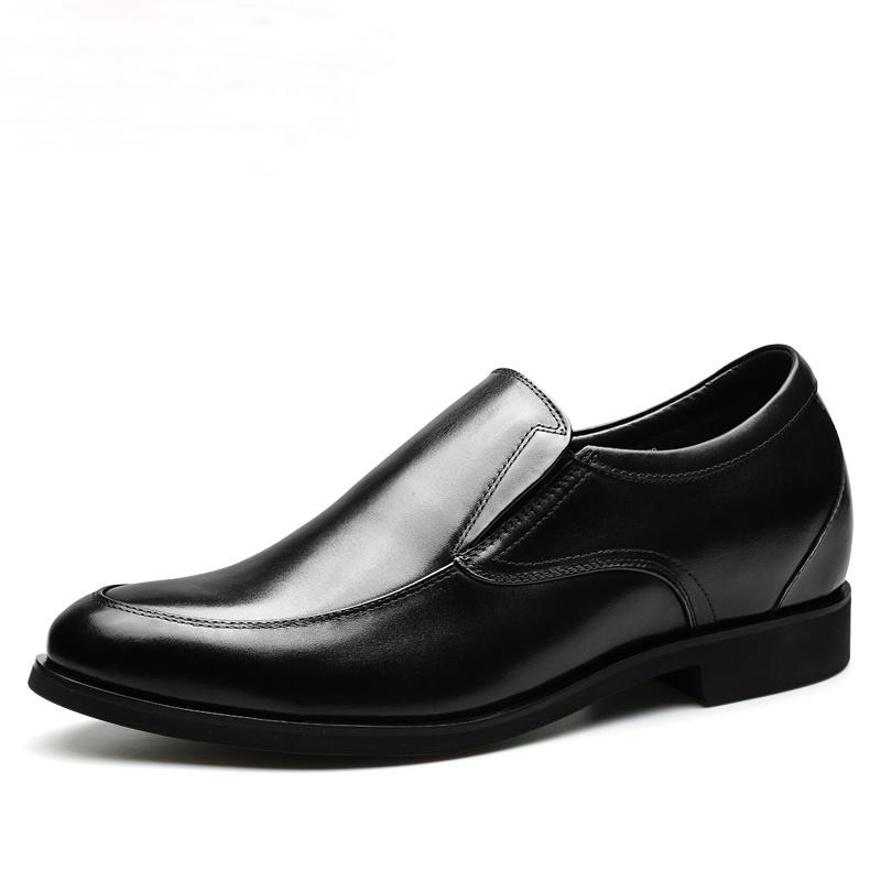 【何金昌】黄棕色正装商务皮鞋增高7cm