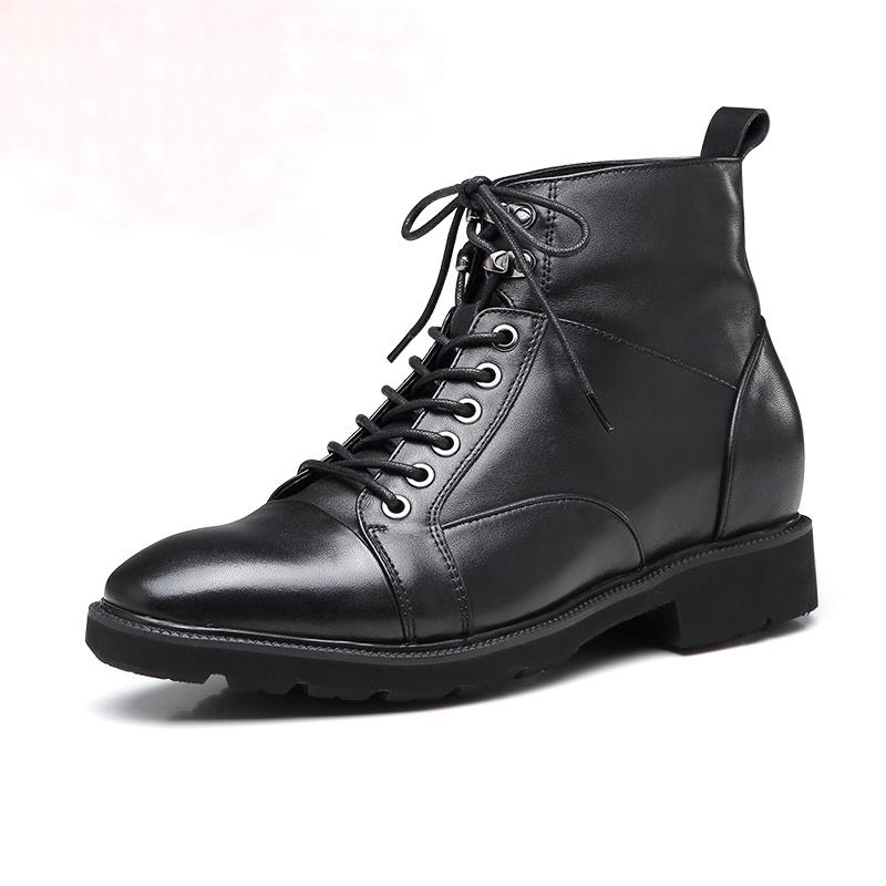 【何金昌】内增高男鞋高帮休闲鞋板鞋潮流百搭秋冬真皮男士增高鞋6cm