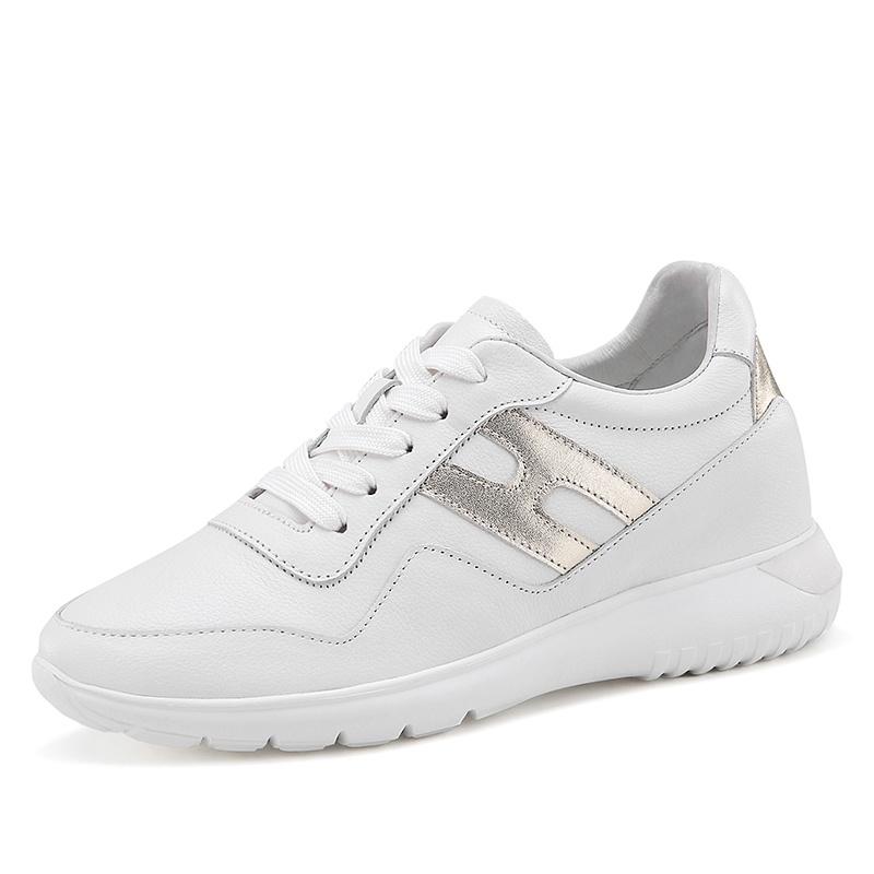 【赫升】女士增高小白鞋皮质 职场精英女士增高皮鞋 7CM