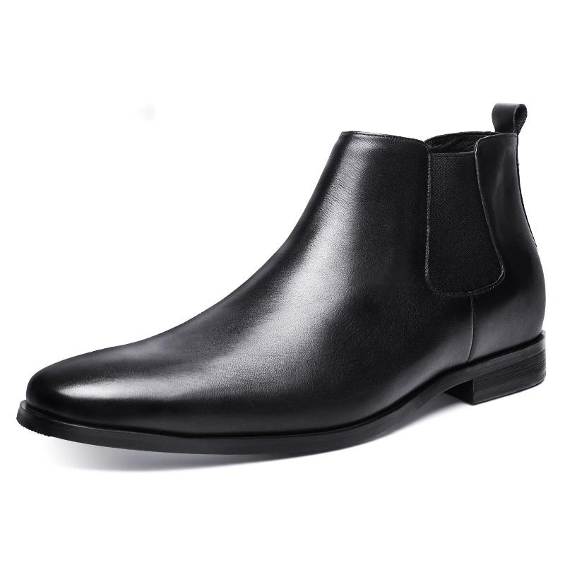 【何金昌】内增高男鞋高帮磨砂皮工装靴短靴户外真皮男士增高鞋7cm潮