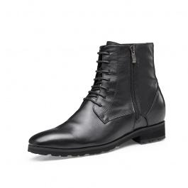 【何金昌】内增高男靴7CM拉链马丁靴男高帮皮靴真皮机车靴男士增高鞋