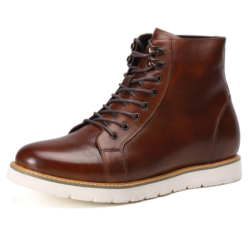 【何金昌】内增高男靴7CM布洛克马丁靴男士短靴子英伦高帮皮靴增高鞋