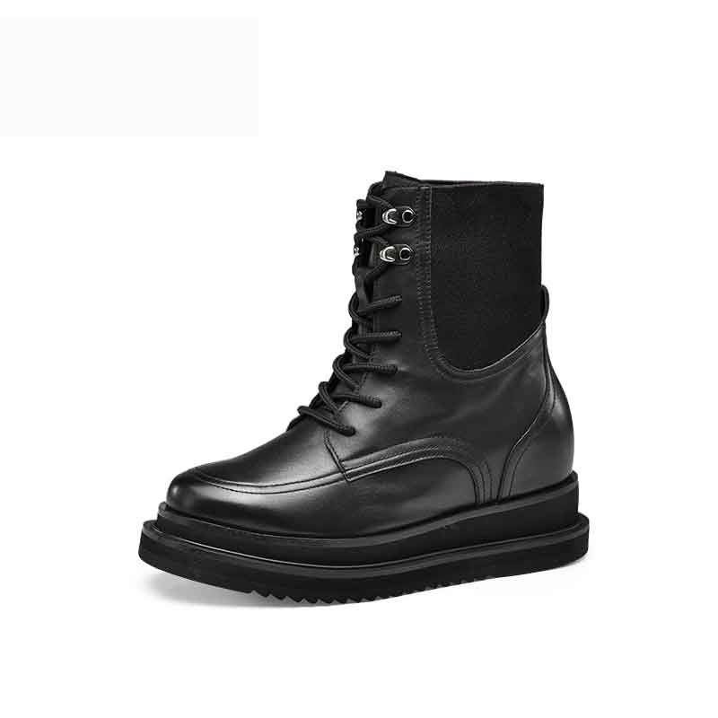 【赫升】隐形内增高女靴秋冬新款潮流马丁靴时尚休闲靴短靴增高鞋7CM