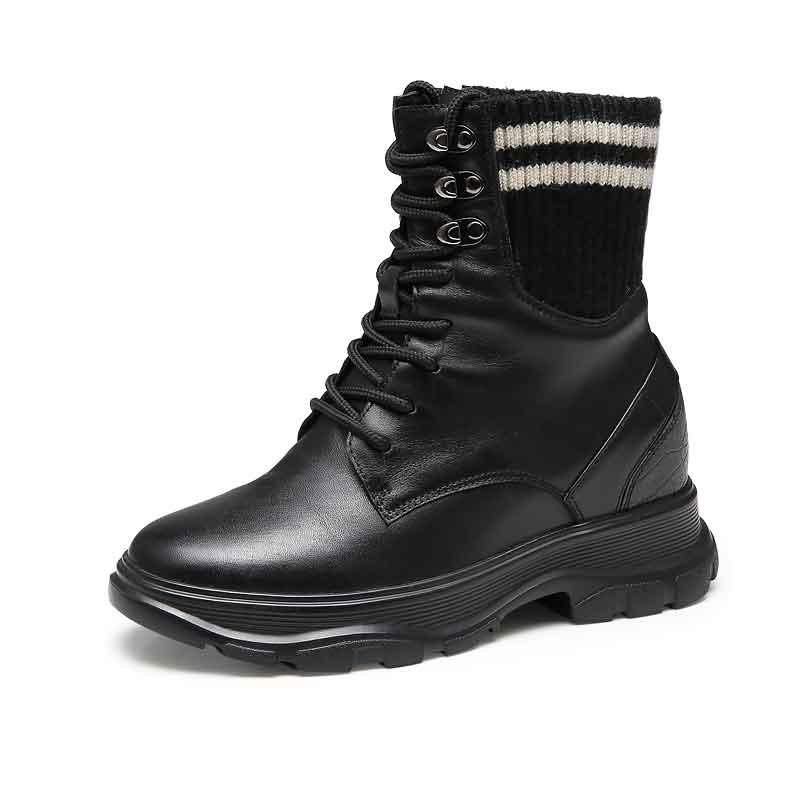 【赫升】隐形内增高女鞋2019冬季新款加绒保暖女靴短靴子增高鞋女7CM