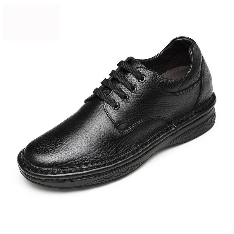 【何金昌】何金昌新款商务休闲皮鞋 轻商务皮鞋 黑色 7CM