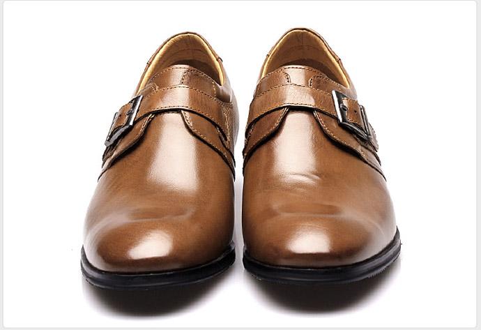 【何金昌】欧式皇廷绅士款商务正装皮鞋 奢华高贵 增高7cm 黄棕/卡其