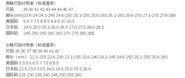 网购时可以看一下网站是提供的鞋子尺码对照表图片