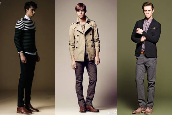 窄脚休闲裤搭配内增高棕色皮鞋