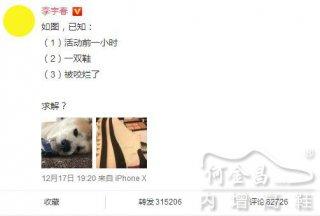 李宇春被狗咬烂鞋子,狗狗表示:我也很无耐啊